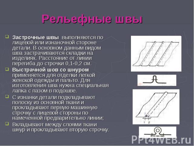 Рельефные швыЗастрочные швы выполняются по лицевой или изнаночной стороне детали. В основном данным видом шва застрачиваются складки на изделиях. Расстояние от линии перегиба до строчки 0,1-0,2 см. Выстрачной шов со шнуром применяется для отделки ле…