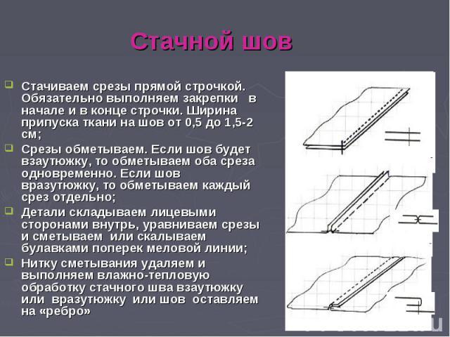 Стачной шов Стачиваем срезы прямой строчкой. Обязательно выполняем закрепки в начале и в конце строчки. Ширина припуска ткани на шов от 0,5 до 1,5-2 см; Срезы обметываем. Если шов будет взаутюжку, то обметываем оба среза одновременно. Если шов вразу…