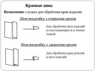 Краевые швы Назначение: служат для обработки края изделия Шов вподгибку с открыт