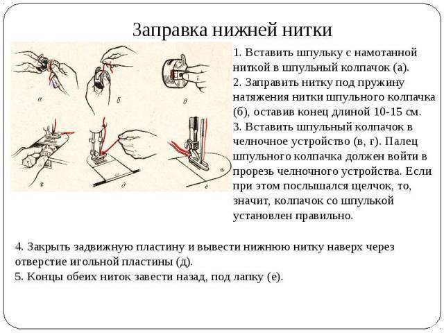 Заправка нижней нитки 1. Вставить шпульку с намотанной ниткой в шпульный колпачок (а). 2. Заправить нитку под пружину натяжения нитки шпульного колпачка (б), оставив конец длиной 10-15 см. 3. Вставить шпульный колпачок в челночное устройство (в, г).…