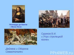 Леонардо да Винчи « Мона Лиза» Суриков В.И. « Утро стрелецкой казни» Дейнека « О