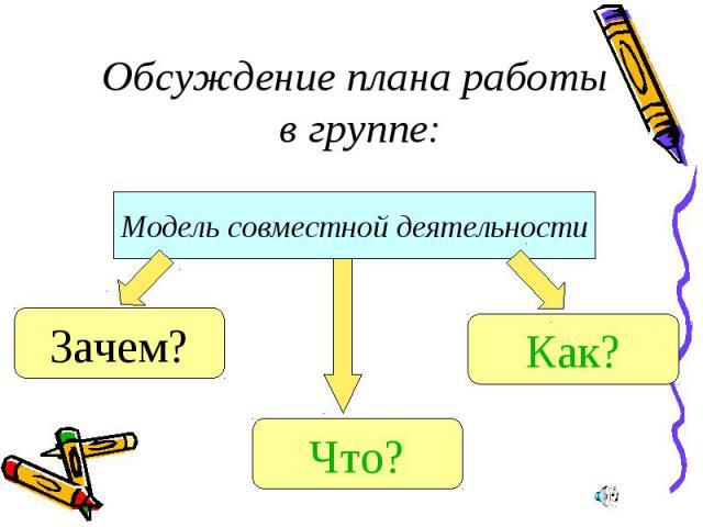 Обсуждение плана работы в группе:Модель совместной деятельности