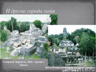 И другие города майяСеверный Акрополь. Вид с Храма I. Тикаль Вид на Центральный