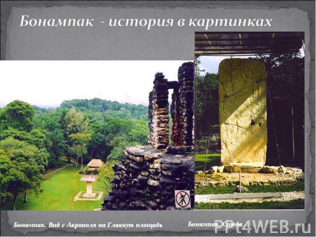 Бонампак - история в картинкахБонампак. Вид с Акрополя на Главную площадь Бонампак. Стела