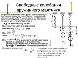 Свободные колебания пружинного маятникаВ вертикальном положении на груз на пружи