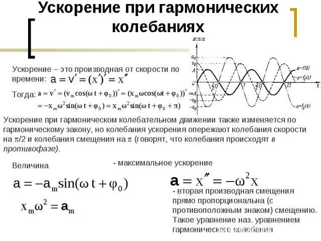 Ускорение при гармонических колебанияхУскорение – это производная от скорости по времени: Ускорение при гармоническом колебательном движении также изменяется по гармоническому закону, но колебания ускорения опережают колебания скорости на /2 и колеб…