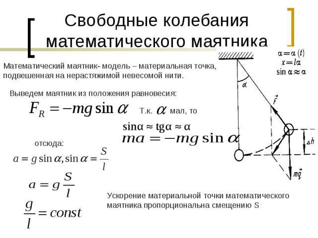 Свободные колебания математического маятникаМатематический маятник- модель – материальная точка, подвешенная на нерастяжимой невесомой нити. Ускорение материальной точки математического маятника пропорциональна смещению S