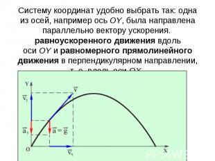 Систему координат удобно выбрать так: одна из осей, например осьOY, была направ