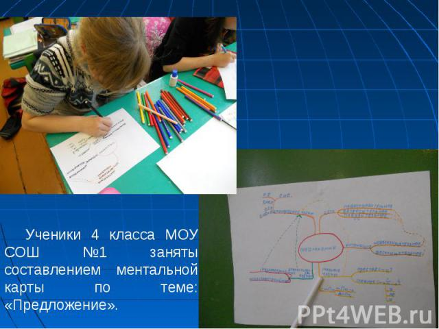 Ученики 4 класса МОУ СОШ №1 заняты составлением ментальной карты по теме: «Предложение».