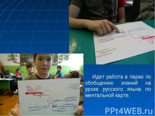 Идет работа в парах по обобщению знаний на уроке русского языка по ментальной карте.
