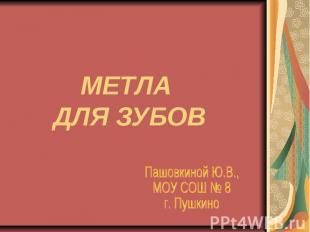 Метла для зубов Пашовкиной Ю.В., МОУ СОШ № 8 г. Пушкино