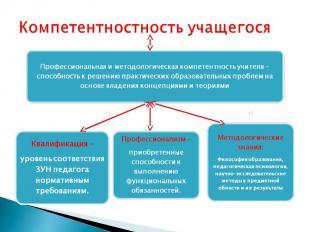 Компетентностность учащегосяПрофессиональная и методологическая компетентность у