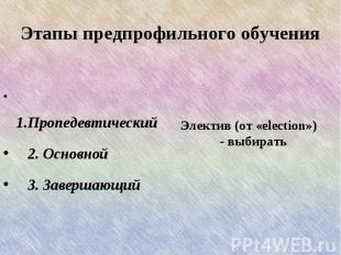 Этапы предпрофильного обучения 1.Пропедевтический 2. Основной 3. Завершающий Эле