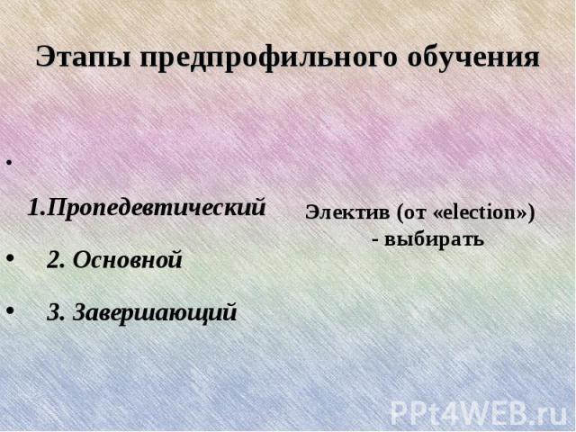 Этапы предпрофильного обучения 1.Пропедевтический 2. Основной 3. Завершающий Электив (от «election») - выбирать
