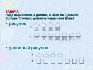 ЗАДАЧА. Лида нарисовала 4 домика, а Вова на 3 домика больше. Сколько домиков нар