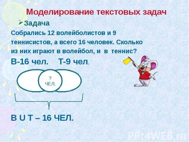 Моделирование текстовых задач Задача Собрались 12 волейболистов и 9 теннисистов, а всего 16 человек. Сколько из них играют в волейбол, и в теннис? В-16 чел. Т-9 чел. B U T – 16 ЧЕЛ.
