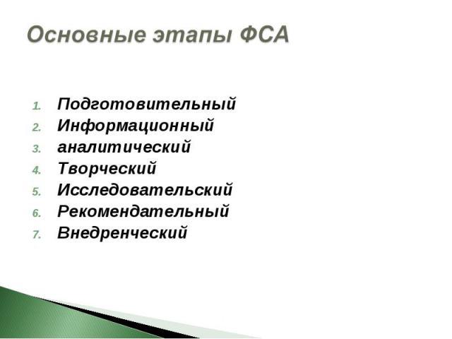 Основные этапы ФСА Подготовительный Информационный аналитический Творческий Исследовательский Рекомендательный Внедренческий