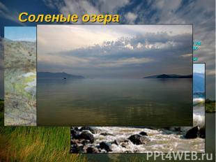 Соленые озера Большинство озер пресноводны и питаются за счет ручьев, рек, дожде