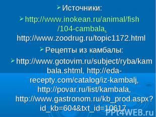 Источники: http://www.inokean.ru/animal/fish/104-cambala, http://www.zoodrug.ru/