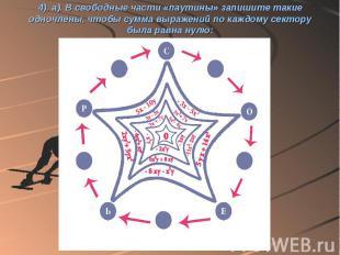 4). а). В свободные части «паутины» запишите такие одночлены, чтобы сумма выраже