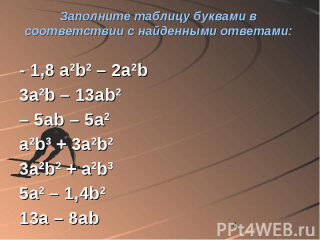 Заполните таблицу буквами в соответствии с найденными ответами: