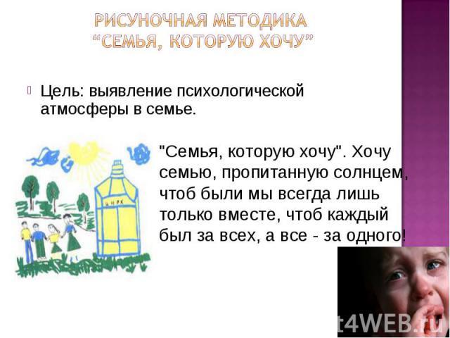 """Рисуночная методика """"Семья, которую хочу"""" Цель: выявление психологической атмосферы в семье."""
