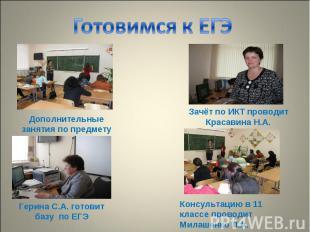 Готовимся к ЕГЭ Дополнительные занятия по предмету Зачёт по ИКТ проводит Красави