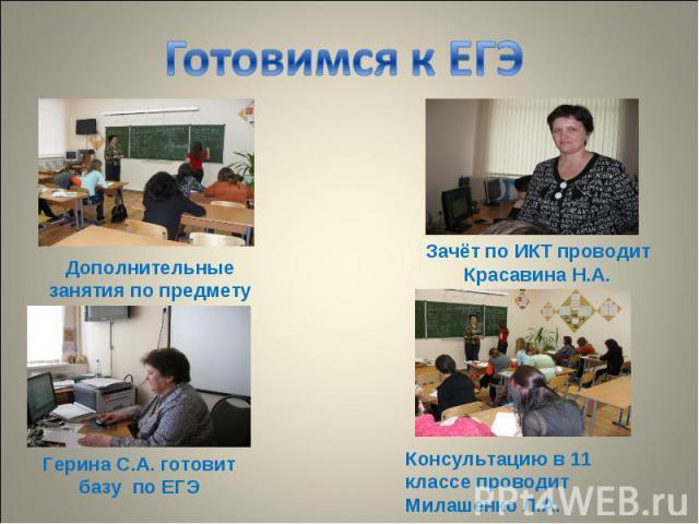 Готовимся к ЕГЭ Дополнительные занятия по предмету Зачёт по ИКТ проводит Красавина Н.А. Герина С.А. готовит базу по ЕГЭ Консультацию в 11 классе проводит Милашенко Л.А.