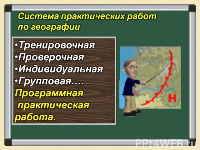 Система практических работ по географии Тренировочная Проверочная Индивидуальная Групповая…. Программная практическая работа.