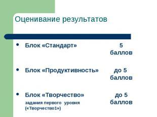 Оценивание результатов Блок «Стандарт» 5 баллов  Блок «Продуктивность» до 5 бал