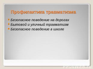 Профилактика травматизма Безопасное поведение на дорогах Бытовой и уличный травм