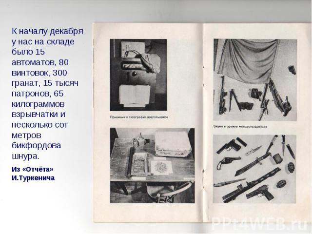 К началу декабря у нас на складе было 15 автоматов, 80 винтовок, 300 гранат, 15 тысяч патронов, 65 килограммов взрывчатки и несколько сот метров бикфордова шнура. Из «Отчёта» И.Туркенича