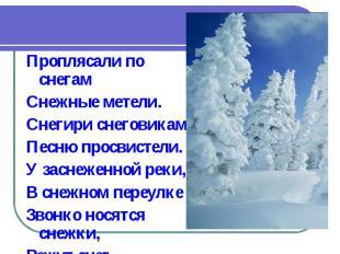 Проплясали по снегам Снежные метели. Снегири снеговикам Песню просвистели. У зас
