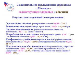 Сравнительное исследование двух школ г.Москвы – содействующей здоровью и обычной