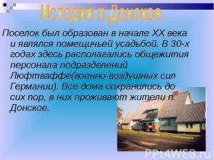 История п.Донское. Поселок был образован в начале ХХ века и являлся помещичьей у
