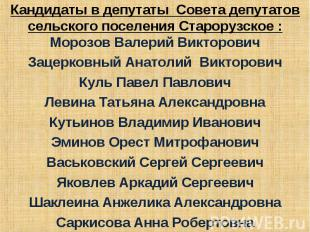 Кандидаты в депутаты Совета депутатов сельского поселения Старорузское :Морозов