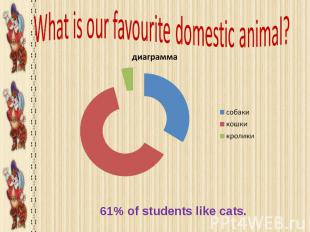 What is our favourite domestic ani mal? 61% of students like cats.