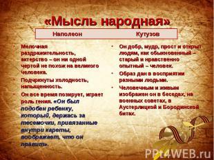 «Мысль народная» Наполеон Кутузов Мелочная раздражительность, актерство – он ни
