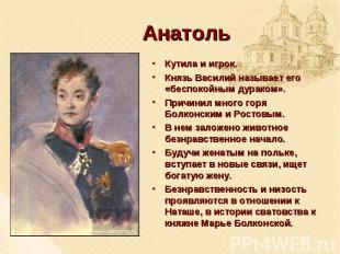 Анатоль Кутила и игрок. Князь Василий называет его «беспокойным дураком». Причин