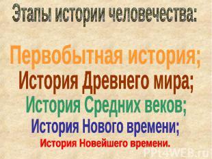 Этапы истории человечества: Первобытная история; История Древнего мира; История