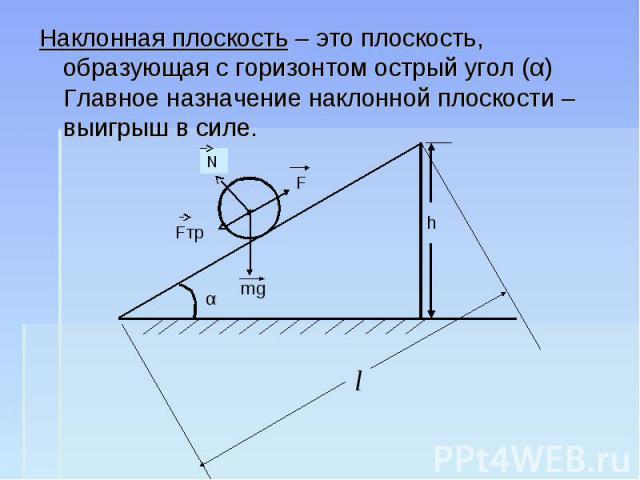 Наклонная плоскость – это плоскость, образующая с горизонтом острый угол (α) Главное назначение наклонной плоскости – выигрыш в силе.