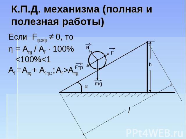 К.П.Д. механизма (полная и полезная работы) Если Fтр,сопр ≠ 0, то η = Amg / AF · 100%