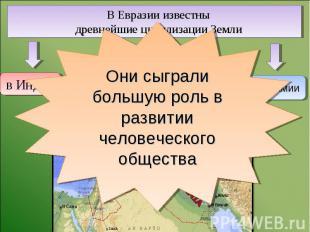 В Евразии известны древнейшие цивилизации Земли Они сыграли большую роль в разви