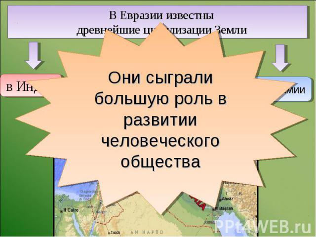 В Евразии известны древнейшие цивилизации Земли Они сыграли большую роль в развитии человеческого общества