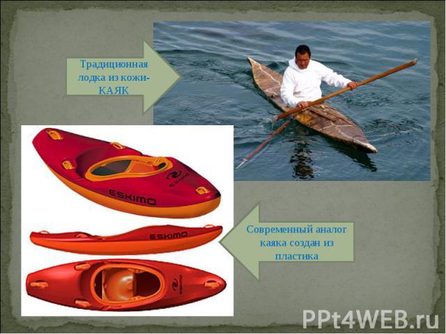Традиционная лодка из кожи- КАЯК Современный аналог каяка создан из пластика