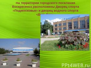На территории городского поселения Воскресенск расположены Дворец спорта «Подмос