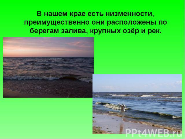 В нашем крае есть низменности, преимущественно они расположены по берегам залива, крупных озёр и рек.