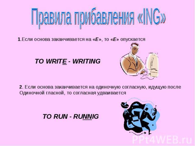 Правила прибавления «ING» 1.Если основа заканчивается на «E», то «E» опускается TO WRITE - WRITING 2. Если основа заканчивается на одиночную согласную, идущую после Одиночной гласной, то согласная удваивается