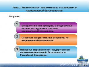 Тема 1. Методология комплексного исследования национальной безопасности.Методоло