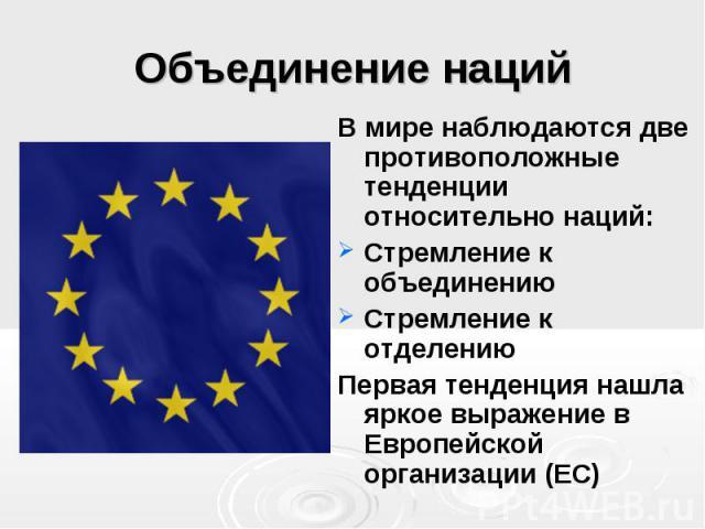 Объединение наций В мире наблюдаются две противоположные тенденции относительно наций: Стремление к объединению Стремление к отделению Первая тенденция нашла яркое выражение в Европейской организации (ЕС)